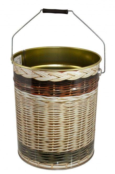 lackierter Ascheeimer Stahl mit geflochtenem Holzmotiv, ohne Deckel